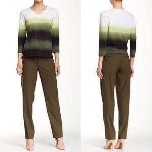 NWT LAFAYETTE 148 Slim Wool Blend Olive Pant